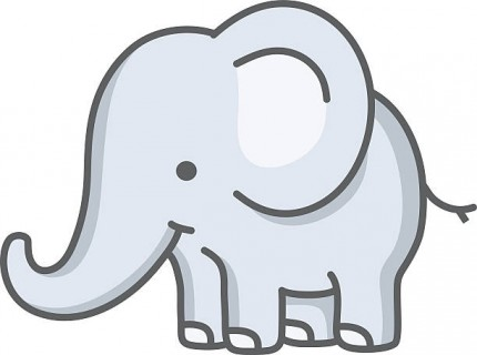 vector illustration of a little baby elephant